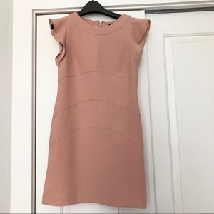 Ann Taylor Pink Peach Flutter Sleeves Dress 0P